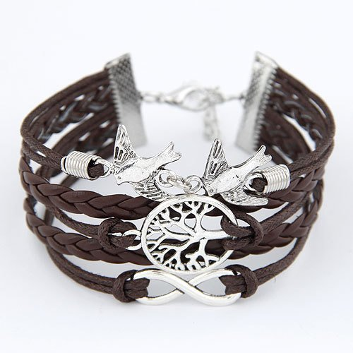 European and American retro tree of life bracelet and alloy fittings birds hand-woven bracelets multilayer
