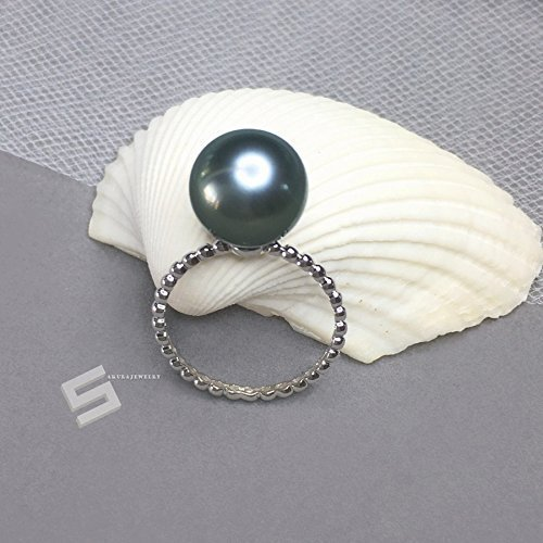 Tahitian Pearl And White Gold Ring, 12.5MM AAA Grade Authentic Tahitian Pearl & 14KT Solid Gold Promise Ring, Genuine Black Pearl Ring