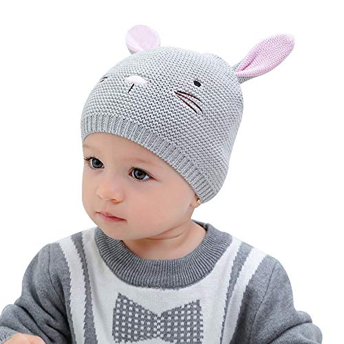 XIAOHAWANG Baby Boys Girls Beanie Knit Infant Baby Caps Cute Rabbit Toddler Hat Cute Ears (S(3-6 ()