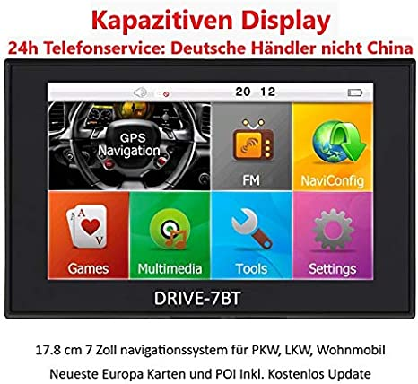 Drive 7bt 7 Inch Navigation System For Trucks Cars Campers 50 Countries Of Europe Hq Tmc Traffic Radio Receiver Text To Speech Bluetooth Av In Navigation Car Hifi