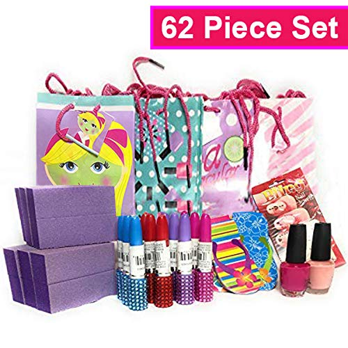 Deluxe Spa Party Supplies/Kits with Prestige Nail Lacquer for Teens, Adults or Girls 62 Piece Set - Retail $69.99