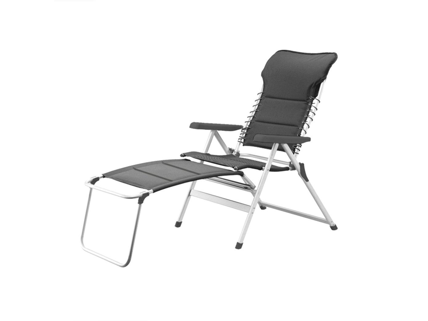 XXL stabiler Hochlehner Campingstuhl gepolstert in Anthrazit mit praktischer Fußablage - Ideal zum Relaxen