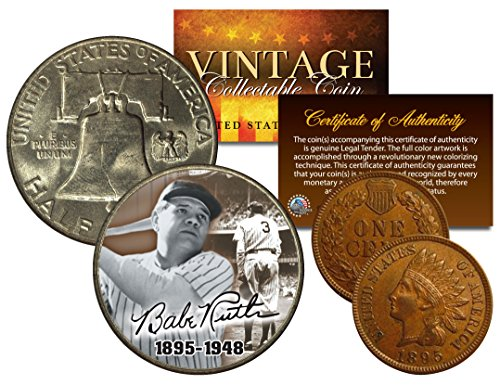BABE RUTH 1948 Franklin Half Dollar & 1895 Indian Head Penny 2-Coin Set - Set Babe Coin Ruth