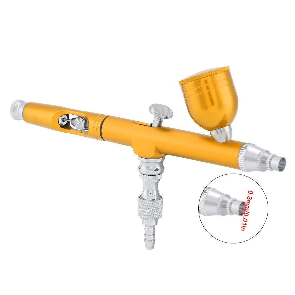 Golden Kit de sistema de aer/ógrafo 7CC con conector de entrada Herramienta de pintura Kit de aer/ógrafo de doble acci/ón multifuncional Aer/ógrafo Kit de pistola de pintura Herramienta de pintura