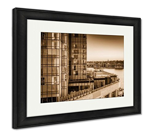 Ashley Framed Prints View of The Legg Mason Building and Waterfront at Sunset in Bal, Wall Art Home Decoration, Sepia, 34x40 (Frame Size), Black Frame, AG6330070 ()
