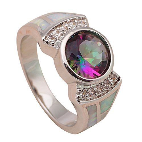 Fantastic 4 Costume Replica (Cherryn Jewelry Fantastic Rainbow Topaz Ring for Ladies White Fire Opal Silver Stamped Ring USA Sz 6 7 7.5 8.5 9 Fashion Jewelry OR678A)