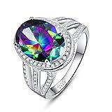BONLAVIE Oval Created Mystic Rainbow Topaz White Cubic Zirconia CZ Engagement Ring 925 Sterling Silver 7