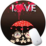 KASOS Mouse Pad Mousepad Round Monkey Art Print Comfortable Rubber Base Mouse Mat for Computers Laptop PC Gaming Office & Home Mat for Desktops