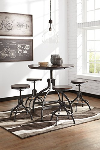 Ashley Furniture Signature Design - Odium Counter Height Dining Room Table and Bar Stools (Set of 5) - Brown (Pub Kitchen Tables For)