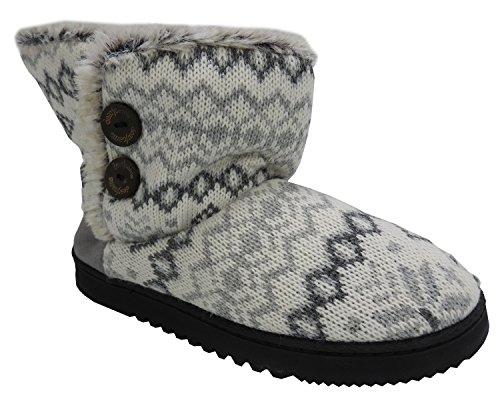 Dearfoams Womens Memory Foam Sweater Knit Indoor/Outdoor Bootie Slippers, X-Large 11/12
