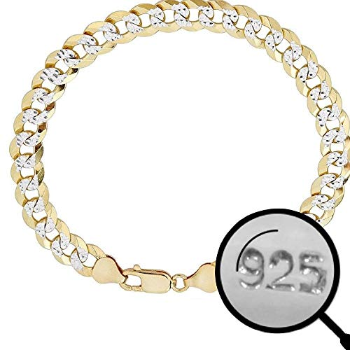 Harlembling Men's Cuban Link Bracelet 14k Gold Over Solid 925 Sterling Silver Bracelet - 8.5