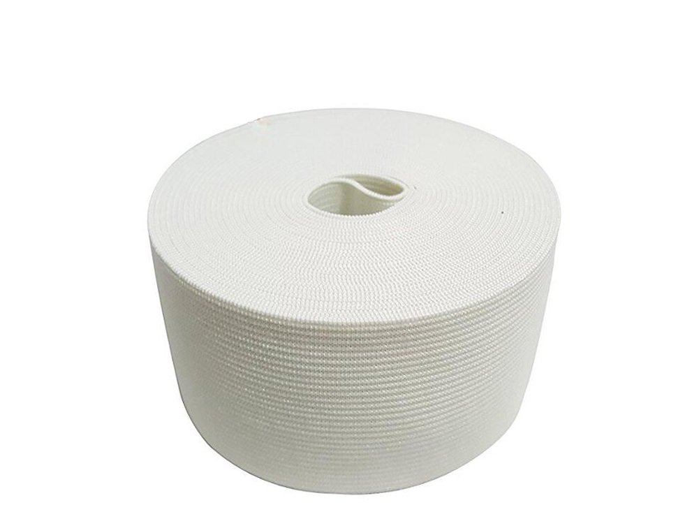 1 Roll(40Meters) 43 Yard Thicken Wide Knit Braided Elastic Cord String/Stretch Thread Rubber Farbic Cord/Elastic Band/Elastic Spool for DIY Clothing Making Accessories (White, 5cm/2inch) by Elandy