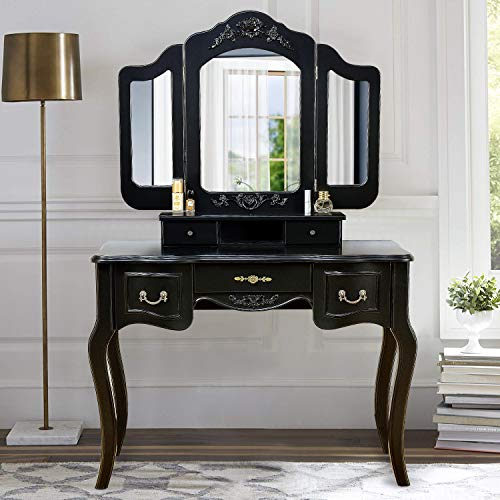 Mirror Mahogany Vanity (Vanity Set Makeup Table Tri Folding Mirror Dressing Table with 5 Drawers & Stool,Black)