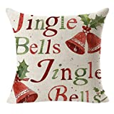 Keepfit Merry Christmas Throw Flax Pillow Case Linen Square Cushion Pillow Cover Letter Printing, Sleigh Bell and Snowmen for House Decor (D)