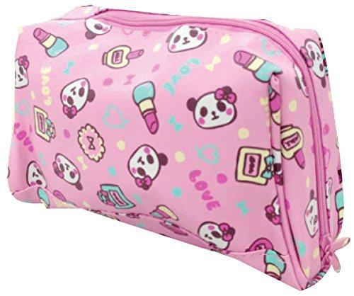 [해외]트윈 팬더 무늬 합 피 소재 요지 파우치 화장품 팬더 GE0686 2A / Twin panda pattern leather material trapezoidal Pouch Makeup Panda GE0686 2a