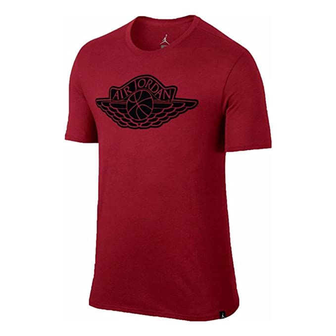 2e9e6c7c19eb Jordan Iconic Jumpman Logo Men s T-Shirt Red Black 834473-687 at Amazon Men s  Clothing store