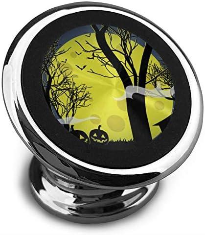 ハロウィーンのカボチャと黄色い月の暗い家 携帯電話ホルダー おしゃれ 車載ホルダー 人気 磁気ホルダー 大きな吸引力 サポートフレーム 落下防止 360度回転