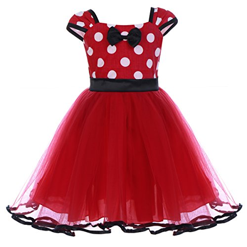 Minnie Mouse Costume Next Day Delivery (Toddlers Girls' Polka Dots Birthday Princess Leotard Party Cosplay Pageant Fancy Costume Tutu Dress Up Mouse Ears Headband Black+Red(B) 4-5)