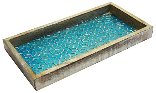Scalloped Ottoman - nu steel TR-248 Wooden Tray Aqua Mosaic
