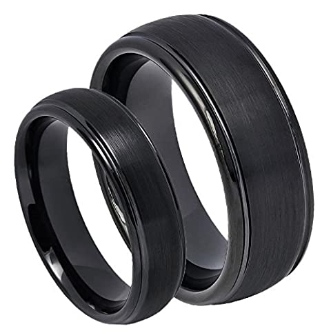 His & Her's 8MM/6MM Dome Step Edge Black IP Plating Brushed Finish Tungsten Carbide Wedding Band Ring (His And Her Rings Tungsten)