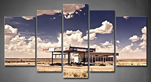 5 Panel Old Gas Station In Ghost Town Along The Route 66 At Border Of The Desert Oil Paintings On Canvas Car The Picture Modern Wall Art Set, Stretched and Framed (Ready To Hang) Route 66 Gas Stations