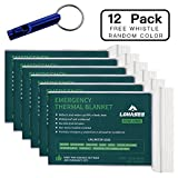 LOHASEE Emergency Foil Mylar Thermal Blanket, Survival Space Blankets Silver for Disaster Preparedness, Outdoors Camping, Bug Out Bag, Hiking, Marathons First Aid (84'' X 64'', 12 Pack)