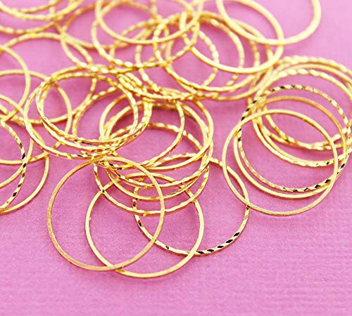 - 20 Linking Rings Brass Antique Gold Tone Circle Connector Jewelry Making Supply Pendant Bracelet DIY Crafting by Wholesale Charms