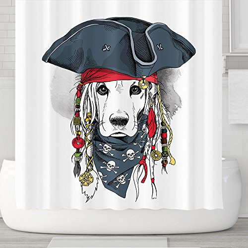 Orange Design Cute Pirate Captain Dog Shower Curtain with Hooks 71''x71'' Labrador Puppy Waterproof Mildew Resistant Fabric, Kids Children Bathroom Gift Decor Accessories Captain Hook Accessory