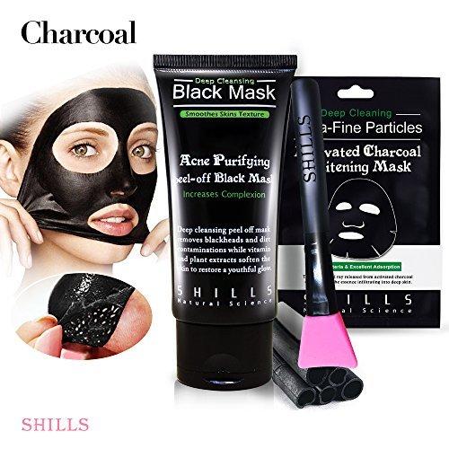 SHILLS Black Mask, Blackhead Peel Off Mask, Blackhead Remover Mask, Charcoal Mask, Black Mask Sheet, 1 Face Mask, 1 Black Mask and Blackhead Cleansing Brush Kit