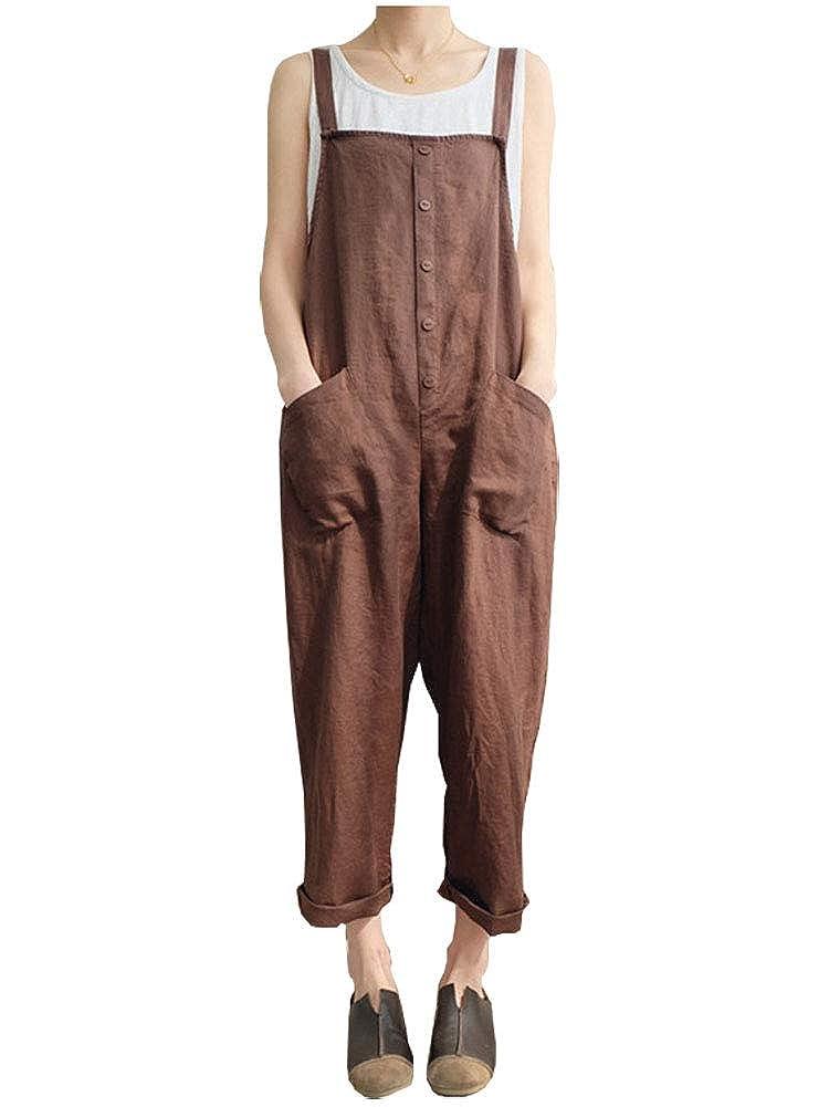 Kedera Womens Baggy Wide Leg Loose Overall Linen Harem Pants