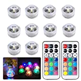 Creazy 10x Submersible LED Lights Bath Underwater Tea Lights Vase Fish Tank Poo Decor