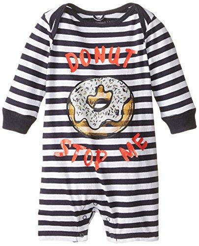 Stella McCartney Unisex-Baby Newborn Maxson Donut Striped Onesie, Blue/White, 12 Months