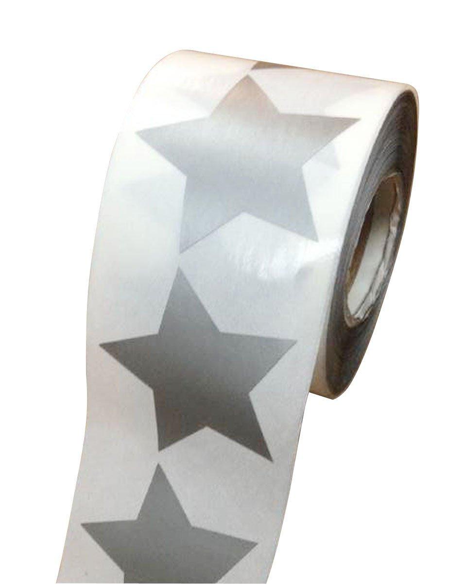 Wootile Silver Writable Paper Star Shape Stickers - 2'' Inch - 500 Per Roll - Shiny Metallic Foil - Teacher Supplies