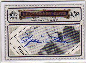 2009 SP Legendary Cuts Legendary Cut Signatures #LC295 Spec Shea Autograph Card Serial #'d/22