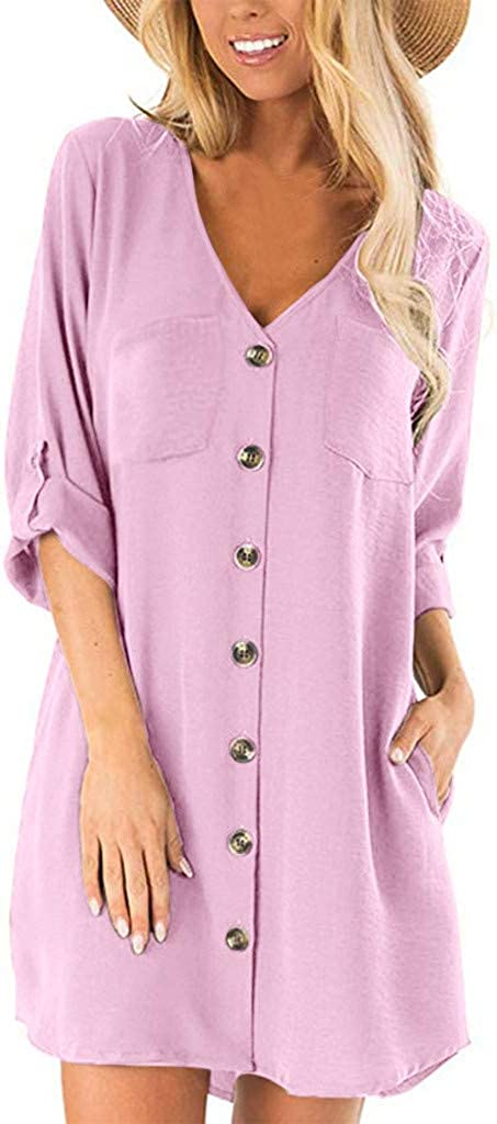 aihihe Womens Casual Summer Dresses Cotton Linen Button Down 3/4 Sleeve Tunic Tops Blouse T Shirt Dress with Pockets