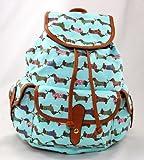 muchachas, lindo, perro, impresión de lona, mochila, bolsa de la escuela, rosa