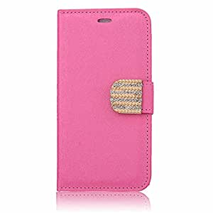 """WensLTD Premium Quality Silk Patter Pint Rhinestone Buckle PU Leather Wallet Card Slot Flip Stand Case Cover for iPhone 6 4.7"""" Rose"""