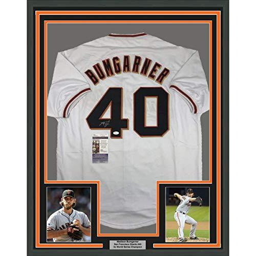 Framed Autographed/Signed Madison Bumgarner 33x42 San Francisco White Baseball Jersey JSA COA