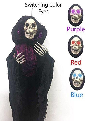 48 Inch Halloween Hanging Skull Decorations With led light Halloween Hanging Skeleton Halloween Hanging Ghost Prop Spooky for Yard Bar Door
