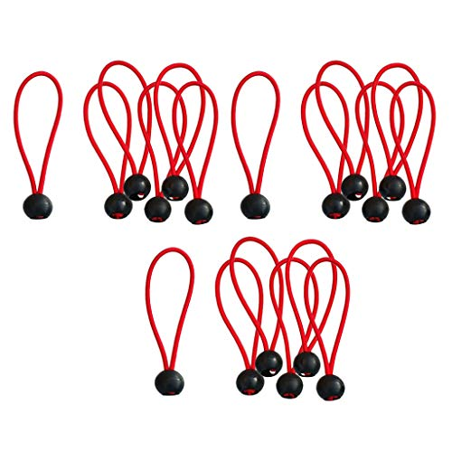 SM SunniMix 18 Pack Ball Bungee Cords, Tarp & Canopy Shock Cords, Extreme Heavy Duty Gazebo Tarp Tie Down Cords - Red 6 inch