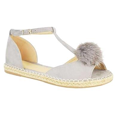 Kootk Damen Sandalen Flache Ferse Schuhe Sommer T-Bar Peep-Toe Schnalle Ankle Sandalen Schuhe