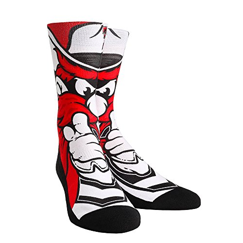 Tech Raiders Red Rubber Texas - NCAA Texas Tech Red Raiders Mascot University Custom Athletic Crew Socks, Large/X-Large, Red