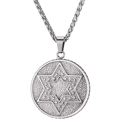 U7 Jewish Jewelry Vintage Style Amulet Pendant for Men & Women Chain 22 Inch Stainless Steel/Rose Gold/Black Gun Plated/ 18K Gold Plated Star of David Necklace (Seal of Solomon Stainless Steel)