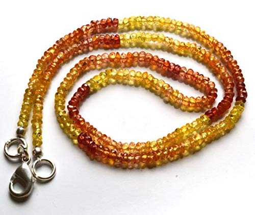 Orange Sapphire Necklace - GemAbyss Beads Gemstone 1 Strand Natural 16.5 Inches Natural,Super Rare Yellow & Orange Sapphire Rondelle Beads Necklace 2 to 2.5 MM Code-MVG-21530