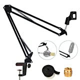 Etubby [Heavy Duty] Microphone Stand Suspension Mic Clip Adjustable Boom Studio Scissor Arm Stand with Screw Adapter & Cable Management for Blue Yeti Snowball Microphone