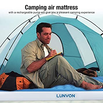Lunvon Self Inflatable Pad Camping Air Mattress Twin Size Blow Up Bed with Built-in Pillow Anti-LeakageRaised Airbed with Rechargeable Pump for Home, Guest, Camping, Height 10 , 2-Year Warranty