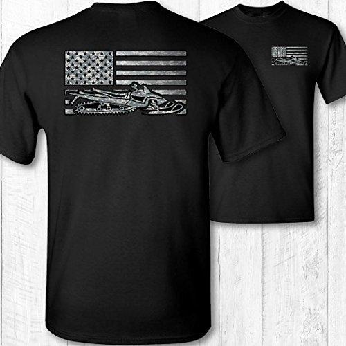 Men's American Flag Snowmobile Shirt by 45th Creative