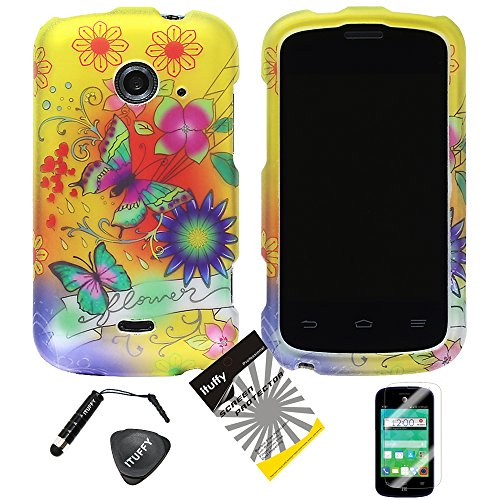 (TM) LCD Screen Protector Film + Stylus Pen + Case Opener + Design Rubberized Snap on Hard Shell Cover Faceplate Skin Phone Case for 2nd Generation ZTE Whirl2 Z667G / ZTE Prelude2 Z667T / ZTE Zinger Z667 (Yellow Flower Butterfly) ()