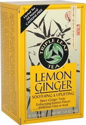 Triple Leaf Tea Tea,Lemon Ginger, 20 Bags, 3 pack