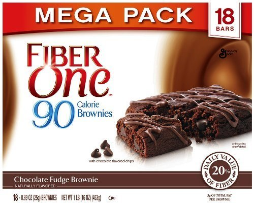 Fiber One 90 Calorie Brownies Mega Pack, Chocolate Fudge, 18-Count Box by Fiber One Snacks